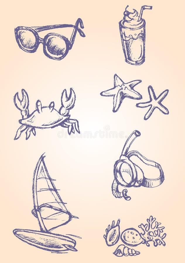 De Voorwerpen van de schetszomer stock illustratie