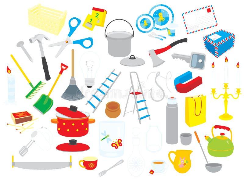 De voorwerpen van het huis stock illustratie
