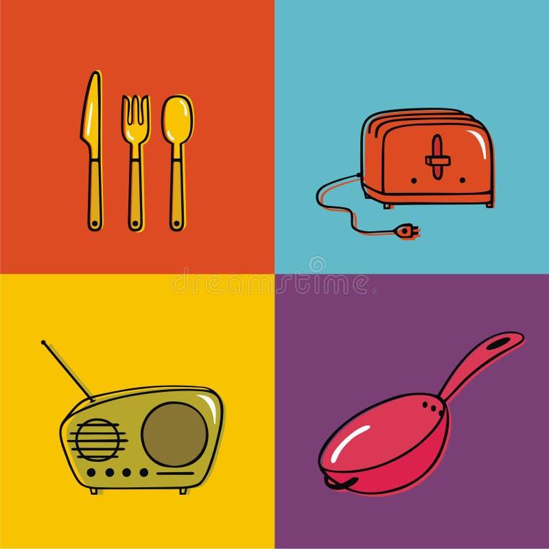 De voorwerpen van het huishouden, werktuigen, broodrooster, pan, royalty-vrije stock foto