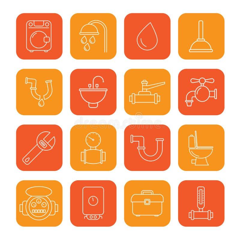 De voorwerpen van het loodgieterswerk en hulpmiddelenpictogrammen stock afbeeldingen