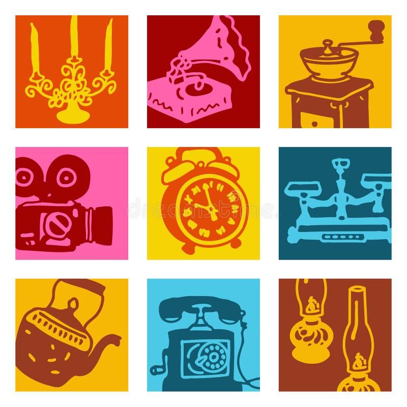 De voorwerpen van het pop-art - wijnoogst stock illustratie