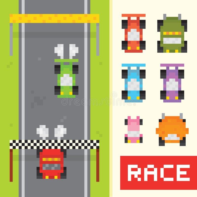 De voorwerpen van het rasspel in de stijl van de pixelkunst vector illustratie