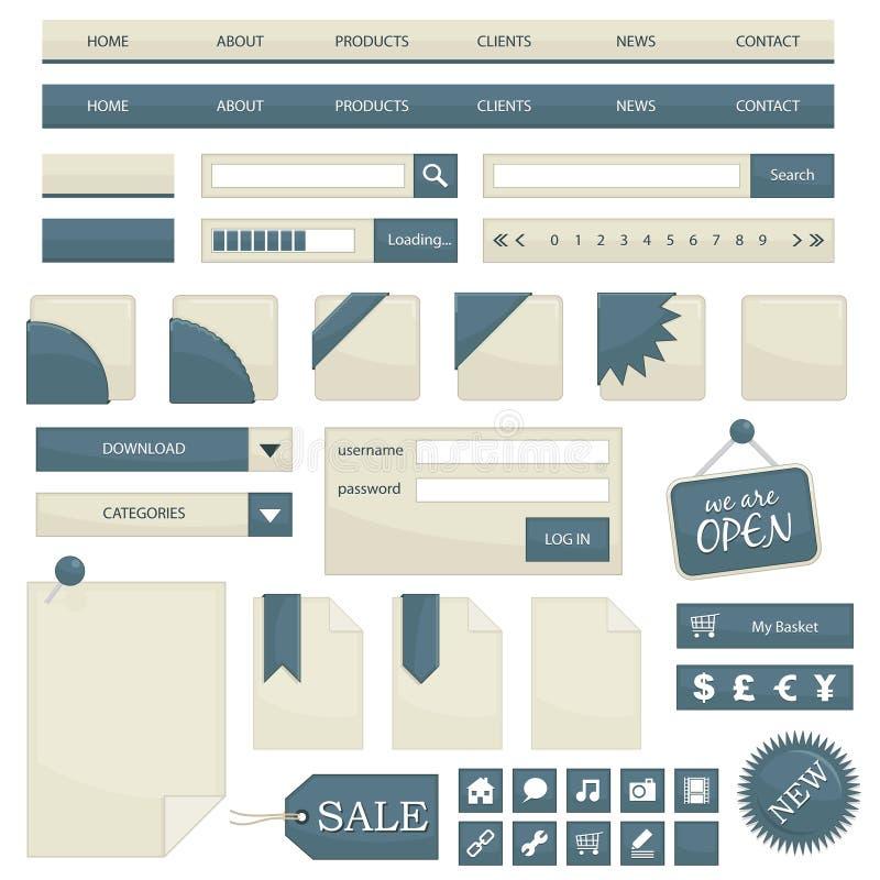De voorwerpen van het Web stock illustratie