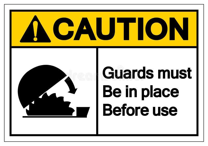 De voorzichtigheidswachten moeten op zijn plaats v3o3or gebruik Symboolteken, Vectorillustratie zijn, op Wit Etiket Als achtergro royalty-vrije illustratie