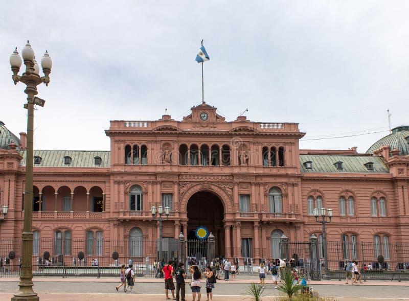 De Voorzijde Argentinië van het plein DE Mayo Casa Rosada stock afbeelding