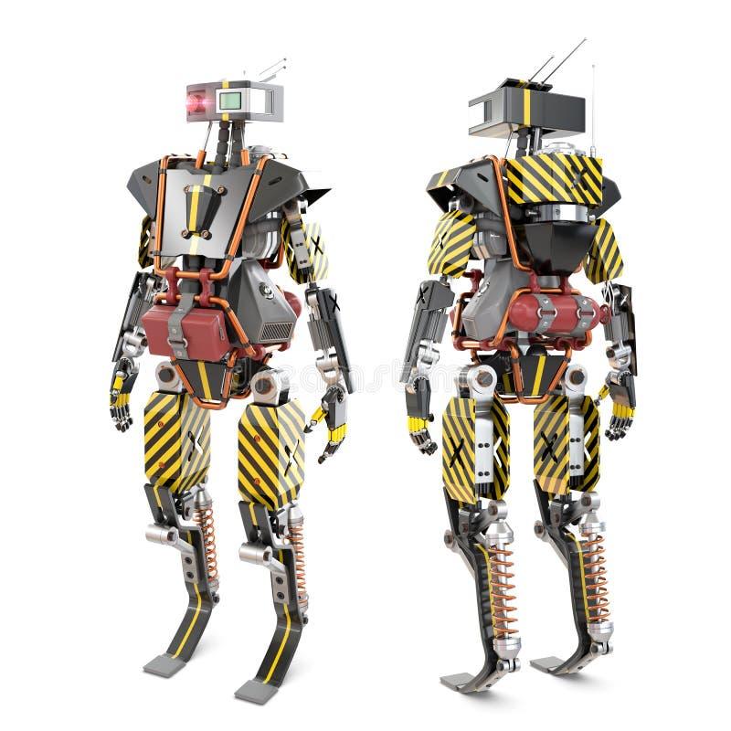 De voorzijde en het achtergedeelte van de robotarbeider stock illustratie
