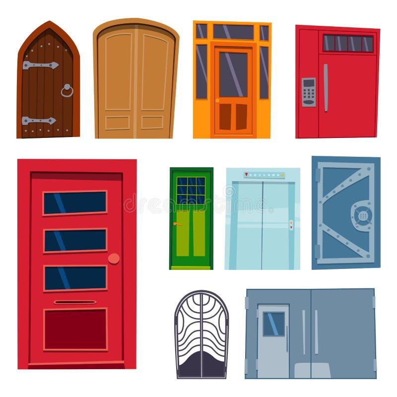 De voorzijde van de kleurendeur aan huis en stijl van het de bouw de vlakke ontwerp isoleerde vector open elegant van de illustra vector illustratie