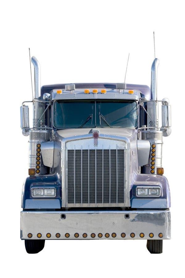 De voorzijde van de vrachtwagen die op wit wordt geïsoleerdn royalty-vrije stock afbeelding