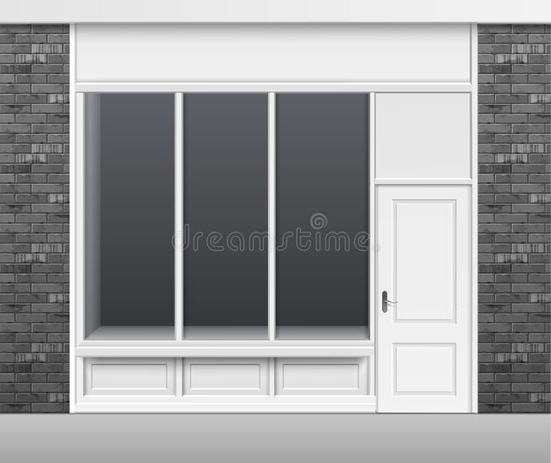 De Voorzijde van de winkelopslag met Venstersshowcase en Deur royalty-vrije stock afbeelding