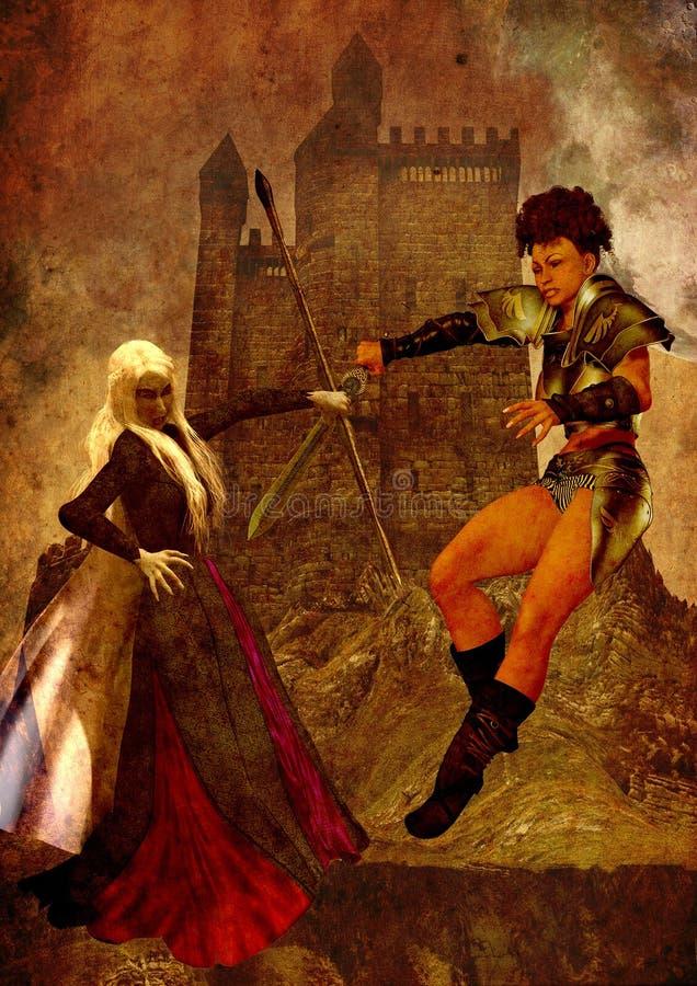 De voorzijde van de fantasiestrijder van een kasteelafstraffing met een donkere oude scharlaken heks vector illustratie