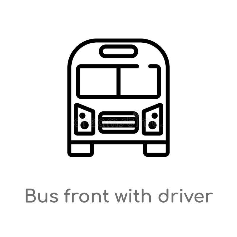 de voorzijde van de overzichtsbus met bestuurders vectorpictogram de ge?soleerde zwarte eenvoudige illustratie van het lijnelemen stock illustratie