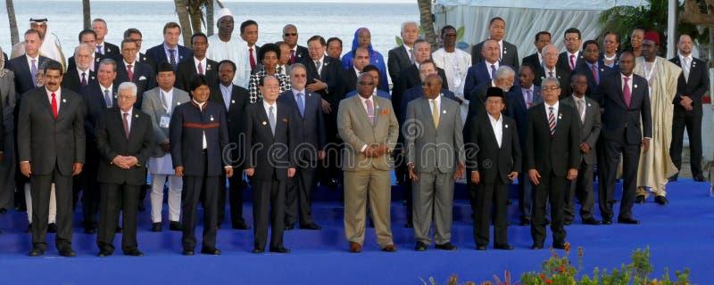 De voorzitters van Delegaties stellen voor de officiële foto in de 17de Top van de Niet gebonden Beweging stock foto