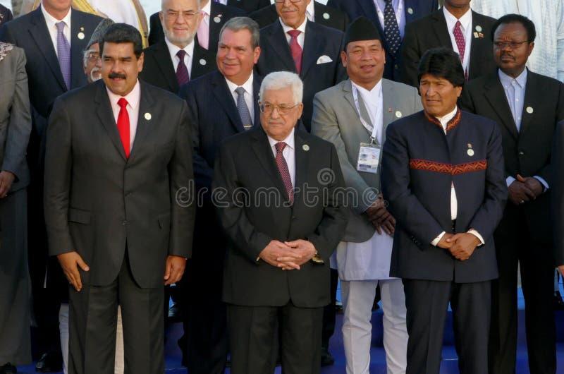 De voorzitters van Delegaties stellen voor de officiële foto in de 17de Top van de Niet gebonden Beweging stock foto's