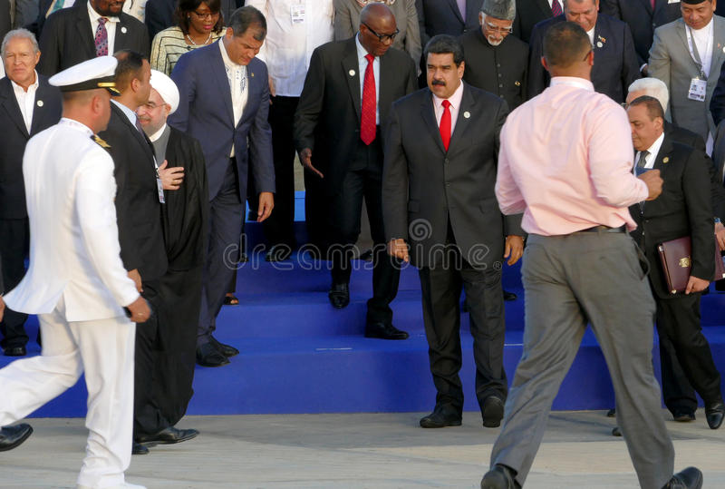 De voorzitters van Delegaties stellen voor de officiële foto in de 17de Top van de Niet gebonden Beweging royalty-vrije stock afbeeldingen