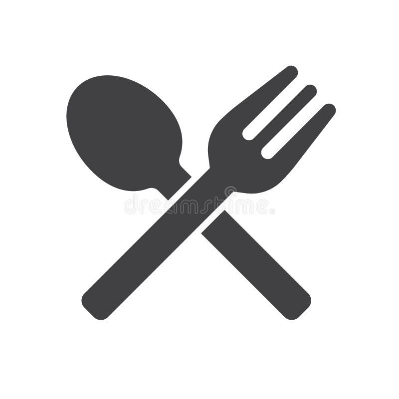 De vork en de lepel kruisten pictogram vector, gevuld vlak teken, stevig die pictogram op wit wordt geïsoleerd royalty-vrije illustratie