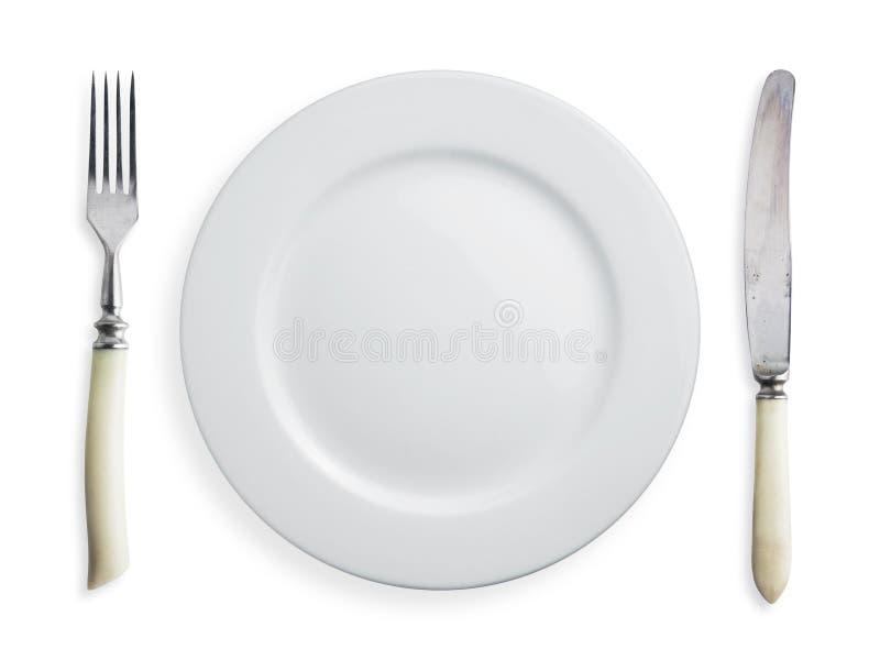 De vork en de plaat van het mes royalty-vrije stock afbeelding
