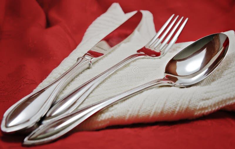 De vork en het mes van de lepel stock afbeelding