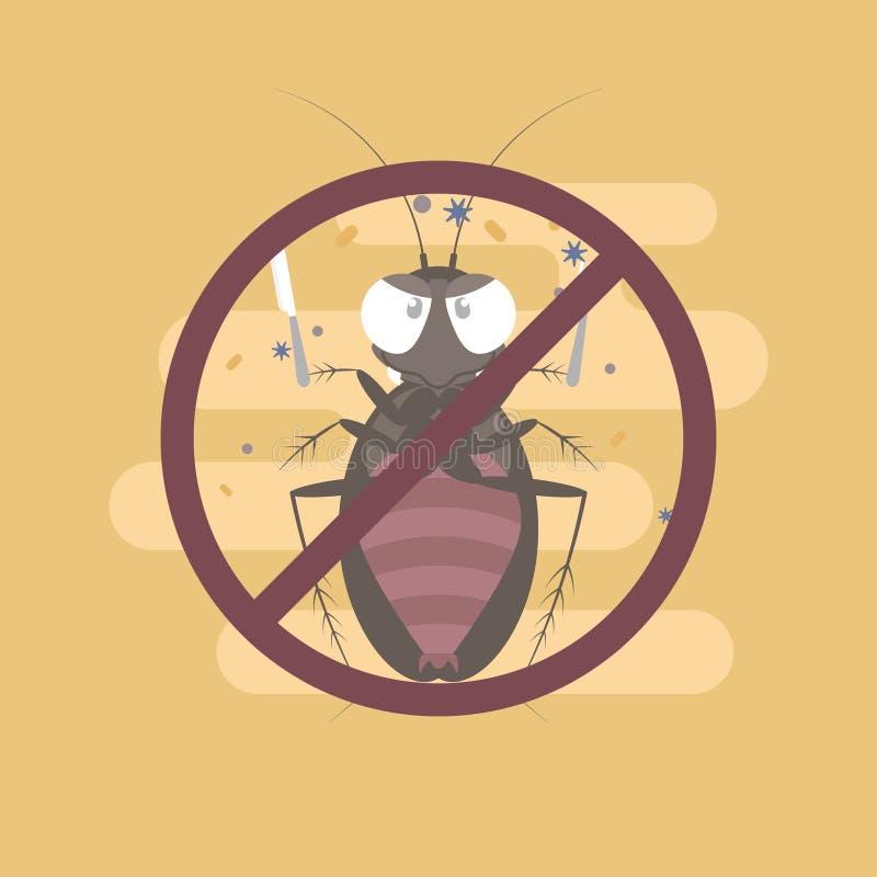 de vork en het mes van de kakkerlakkenholding, ongediertebestrijdingsconcept royalty-vrije illustratie