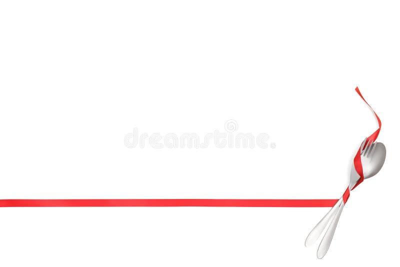 De vork en de lepel bonden met een rood die lint als kader met exemplaarruimte wordt geïsoleerd stock afbeeldingen