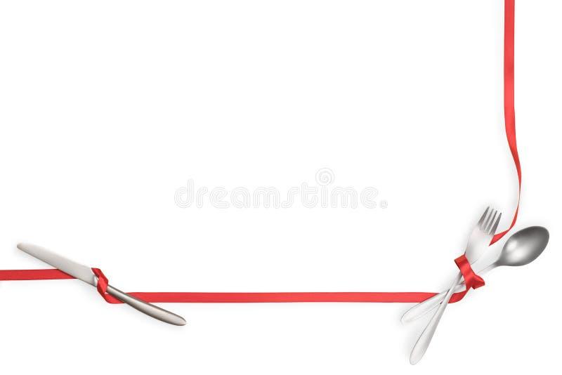 De vork, de lepel en het mes bonden met een rood lint dat met exemplaarruimte wordt ge?soleerd royalty-vrije stock foto