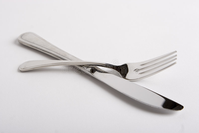 De vork van het mes stock foto
