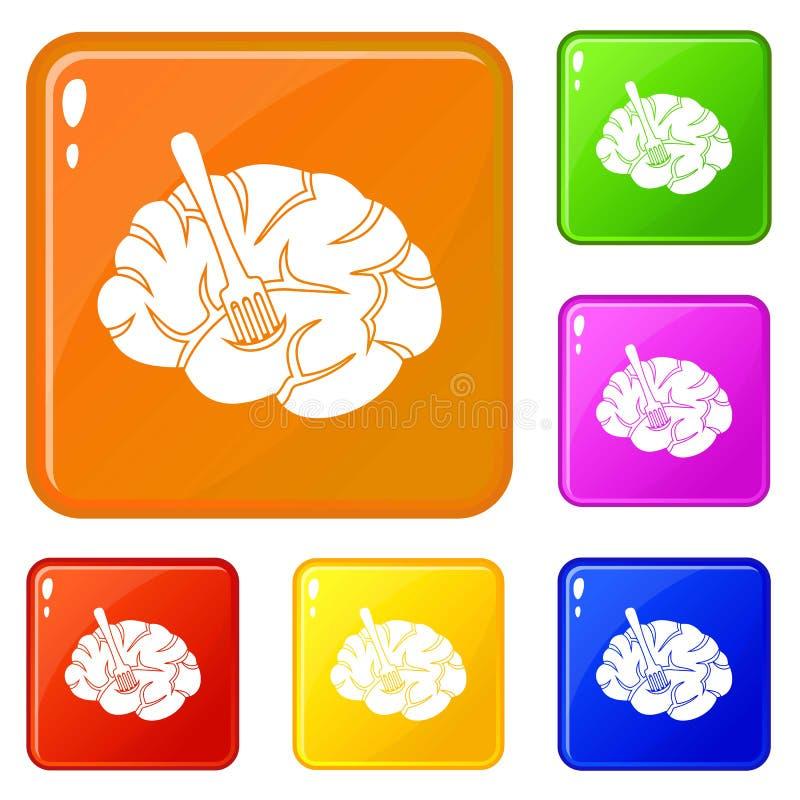 De vork wordt opgenomen in de hersenenpictogrammen geplaatst vectorkleur stock illustratie