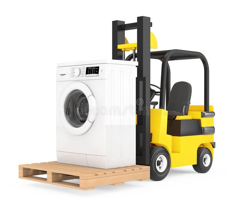 De Vorkheftruck beweegt Moderne Wasmachine het 3d teruggeven stock illustratie