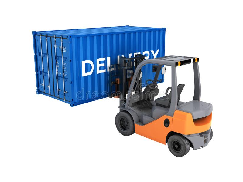 De vorkheftruck die de vervoer over zeecontainer met een inschrijvingslevering behandelen die op witte 3d achtergrond wordt geïso royalty-vrije illustratie