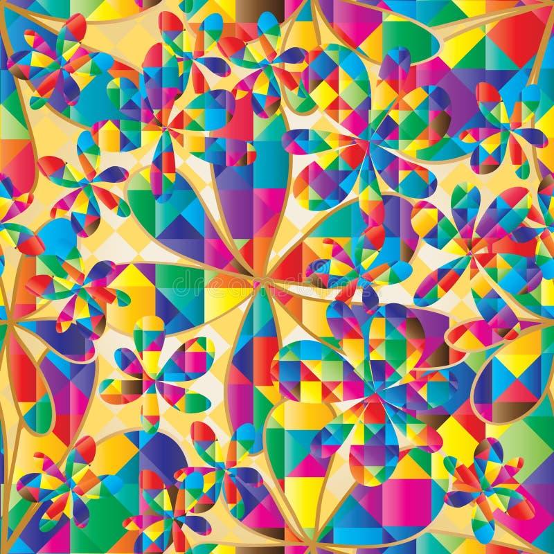 De vorm naadloos patroon van de bloem kleurrijk diamant royalty-vrije illustratie