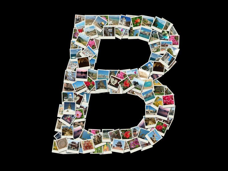 De vorm van B-brief (Latijns alfabet) maakte als de collage van de reisfoto royalty-vrije stock afbeeldingen