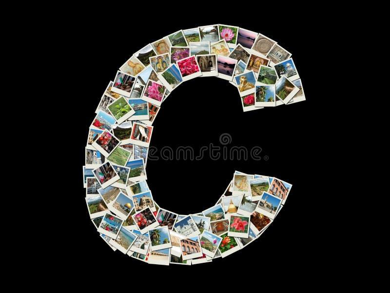 De vorm van c-brief (Latijns alfabet) maakte als de collage van de reisfoto stock foto's