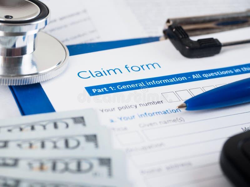 De vorm van de ziektekostenverzekeringeis royalty-vrije stock afbeelding