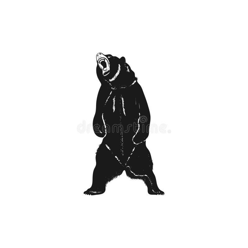 De vorm van het grizzlysilhouet Verontrust wild dierlijk pictogram Voorraad vectordiepictogram op witte achtergrond wordt geïsole vector illustratie