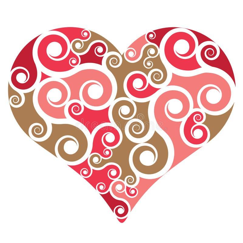 De vorm van het hart met wervelingen vector illustratie