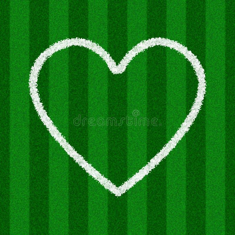 De Vorm van het hart op een Gebied van het Voetbal royalty-vrije stock afbeelding