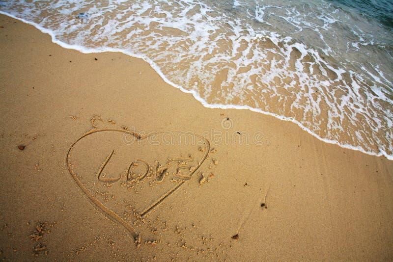 De vorm van het hart op strand royalty-vrije stock foto