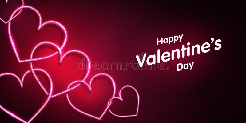 De vorm van het neonhart op donkere roze achtergrond Gelukkige valentijnskaartendag royalty-vrije illustratie
