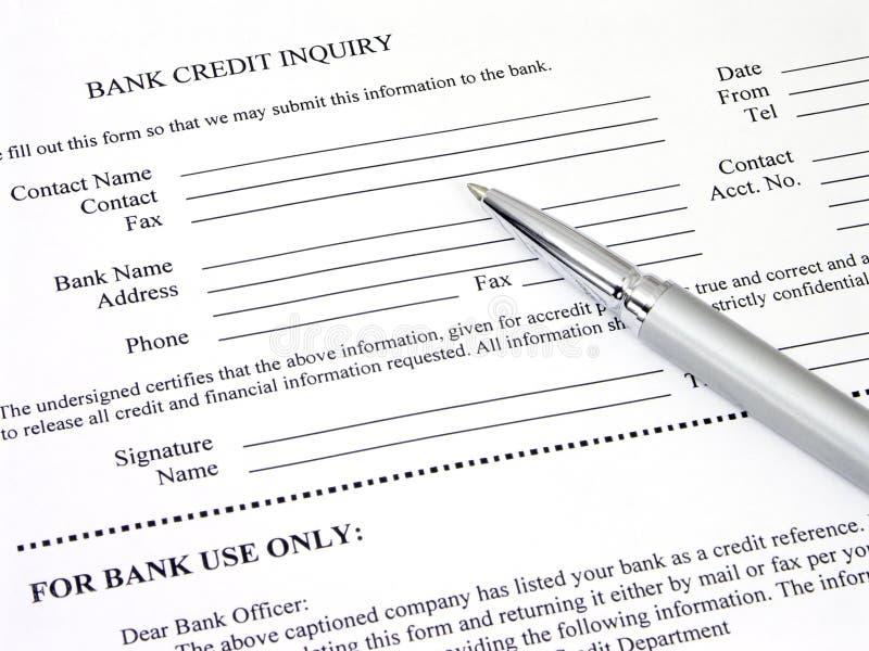 De Vorm van het Onderzoek van het Krediet van de bank stock afbeelding