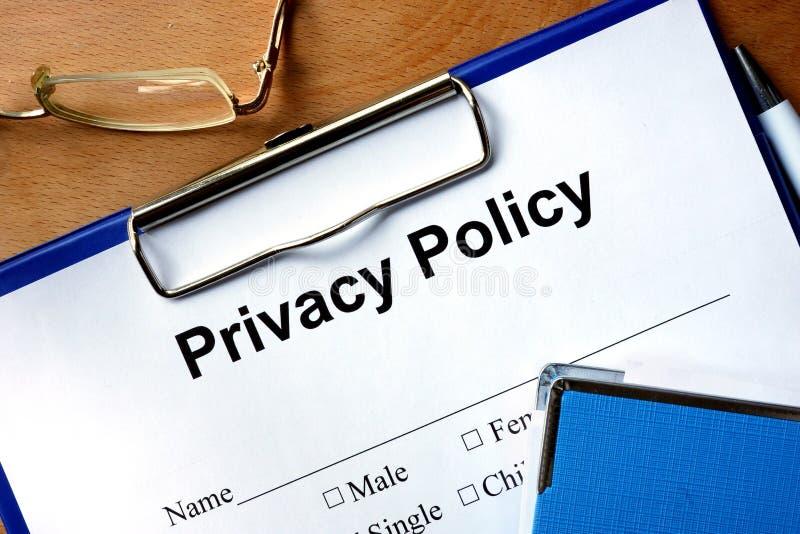 De vorm van het privacybeleid royalty-vrije stock fotografie