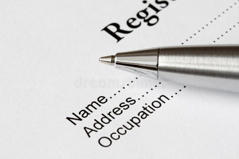 De vorm van het register royalty-vrije stock afbeelding