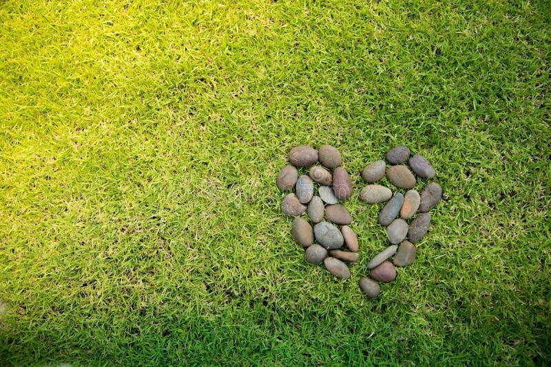 De vorm van het rotshart op een groen grassengebied stock foto's