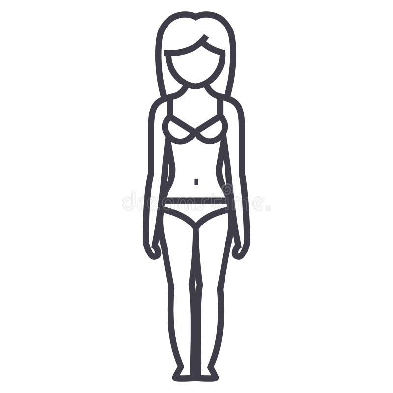 De vorm van het vrouwenlichaam, vrouwelijke sillhouetevoorzijde, pictogram van de lingerie het vectorlijn, teken, illustratie op  stock illustratie