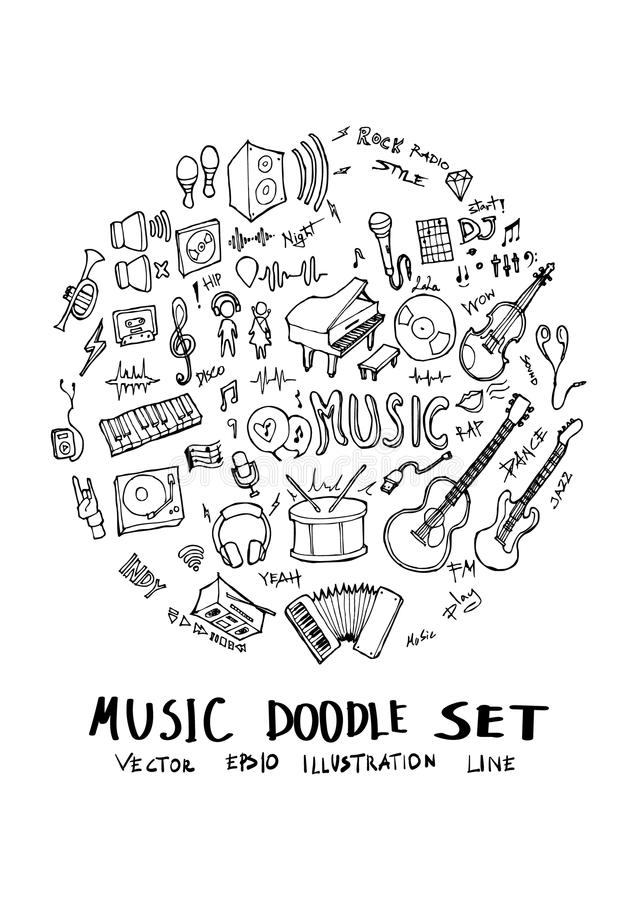 De vorm van de de illustratiecirkel van de muziekkrabbel op a4 document behanglijn royalty-vrije illustratie