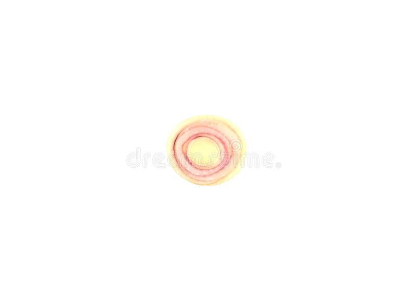 De vorm van de de plakcirkel van het citroengras op witte achtergrond wordt geïsoleerd die royalty-vrije stock afbeeldingen
