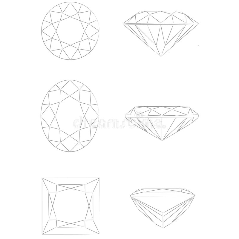 De vormen van de diamant: Ronde Briljante - Ovaal - Prinses vector illustratie