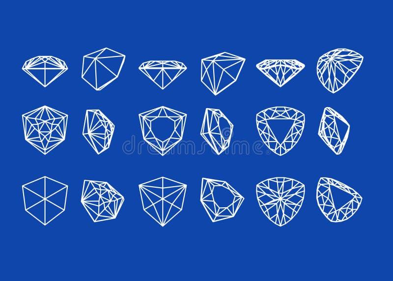 De vormen van de inzameling van diamant Wireframe stock illustratie