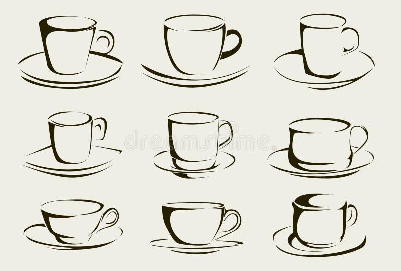 De vormen van de koffiekop stock illustratie