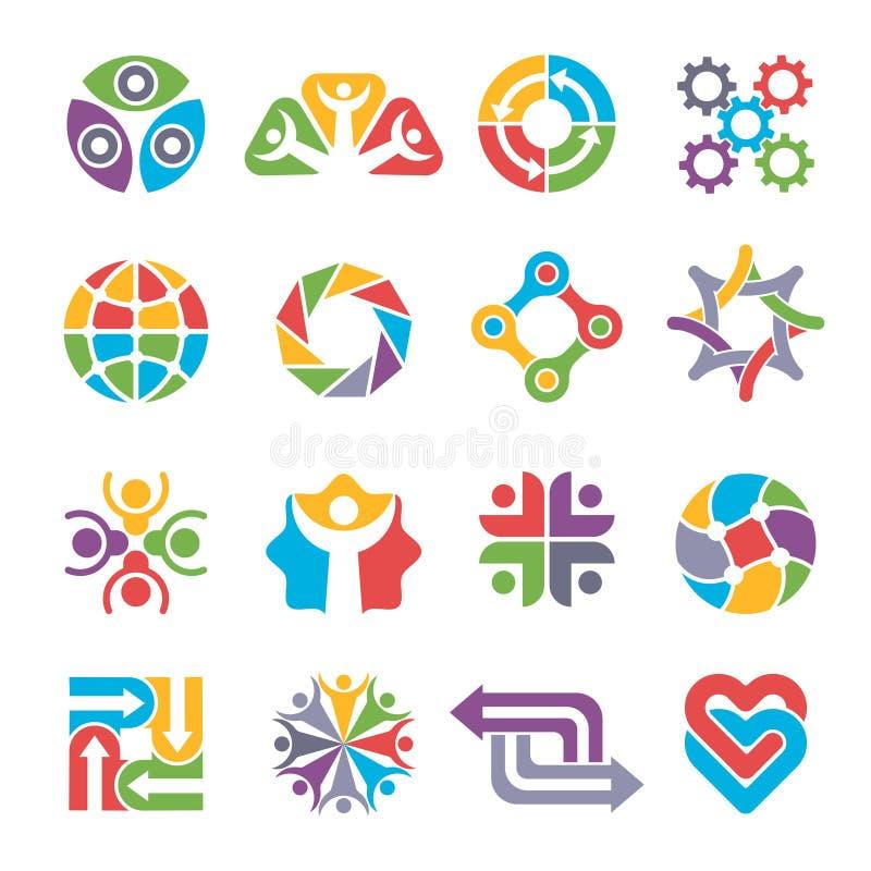 De vormen van het cirkelembleem De communautaire groep kleurrijke abstracte vormen van het recyclingsvennootschap samen voor bedr royalty-vrije illustratie