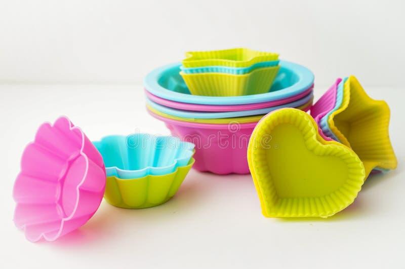 De vormen van het silicone voor bakselcakes stock foto's