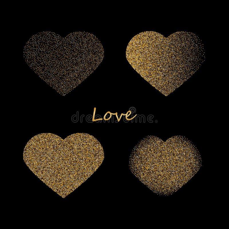 De vormen van vier verschillende harten van gouden schitteren en doorboren zich verspreiden geïsoleerd op wit E royalty-vrije stock afbeeldingen